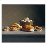 Still life with bread and eggs