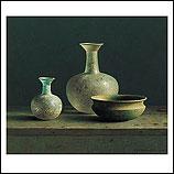 Roman glass with bronze dish