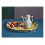 Apples and teapot on a tray