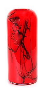 Glazen vaas cilinder rood