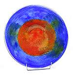 Glazen schaal rood blauw