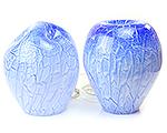 Glazen lamp blauw gedeukt