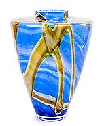 Glazen vaas blauw en creme