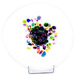 Glazen schaal wit multicolor