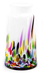 Glazen vaas wit multicolor (smal)