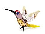Glazen vogel kolibrie geel paars