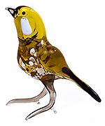Glazen vogel geel