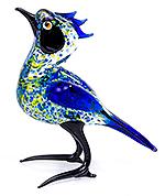 Glazen vogel blauw stipjes
