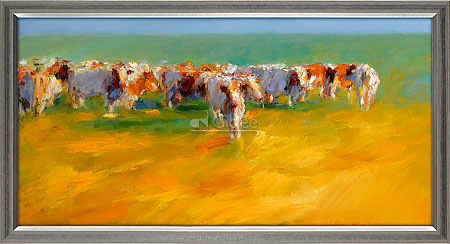 Rode koeien in laat zomerlicht