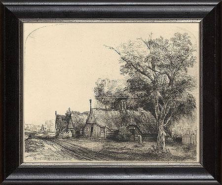 Drie boeren huizen aan een weg