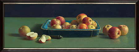 Blue chest with apples