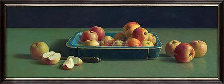 Blauwe bak met appels