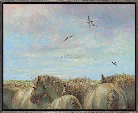 Paarden en boerenzwaluwen