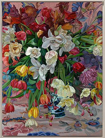 Vaas gekleurde bloemen
