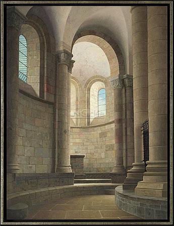 Kooromgang van de kerk in Conques…