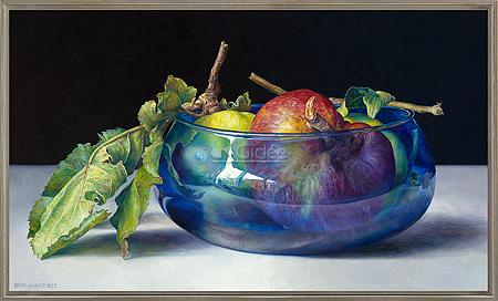 Wilde appels in blauwe kom