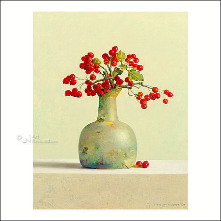Hawthorn berries in roman glass