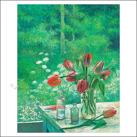 Tulpen tegen bosrand