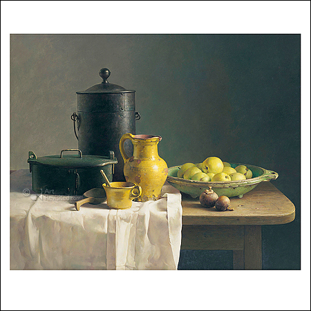 Still life with yellow pitcher and apples