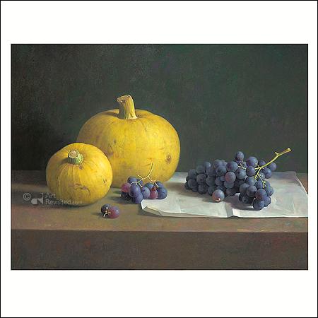 Stilleven met druiven en sierkalebassen