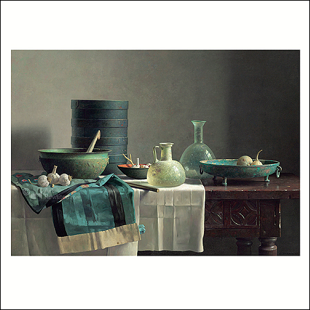 Roman glass and chinese skirt on Spanish table