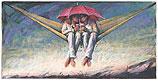Kleine hängematte und Schirm