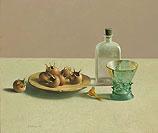 Still life with glassware and medlars