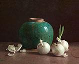 Gingerpot and white onions on dark ba…