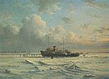 Ferry MS 'Vlieland' stuck in the ice