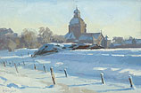 Snow landscape with church