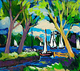 White sails on the lake