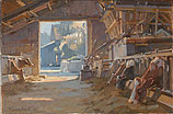 Cows in sunlit barn