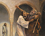 Een blinde tot Jezus geleid