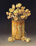 Can with dried roses