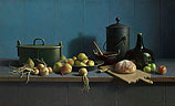 Stilleven met fruit en brood tege…