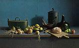 Stilleven met fruit en brood tegen bl…