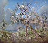 Blooming apple trees near the Meuse v…