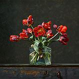 Still life with parrot tulips