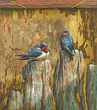 Swallows against gold