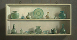 Roman glass in cupboard