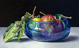 Wild apples in blue bowl