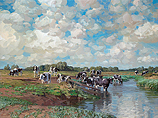 Cattle cooling off in the river