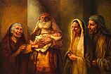 Simeon en Anna dragen Jezus