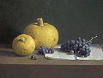 Stilleven met druiven en sierkalebass…