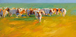 Red cows in summery light