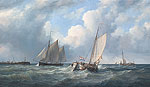 Zeilschepen voor een haveningang