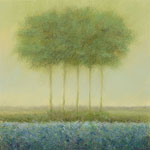 Blue landscape with 5 trees