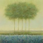 Blauw landschap met 5 bomen