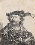 Zelfportret met gepluimde baret