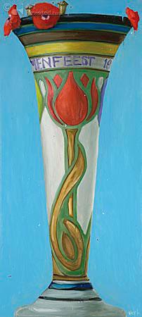 Compositie bloemenvaas met klaprozen